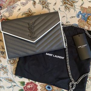 YSL grey grained leather wallet on a chain